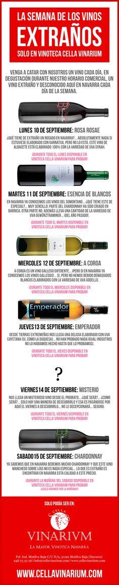 Semana entera de degustaciones en Vinoteca Cella Vinarium, #VinosExtraños en Pamplona.