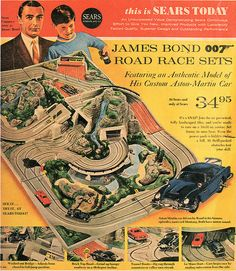James Bond Road Race set from Sears Ho Slot Cars, Slot Car Racing, Slot Car Tracks, Retro Advertising, Retro Ads, Vintage Advertisements, Vintage Games, Vintage Toys, Gi Joe