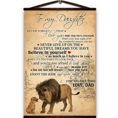 Lion canvas poster to my daughter never forget that i love you beautiful dreams you have believe in yourself way back home love from dad