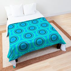 Aqua Cyan Pattern  Comforter by Emily Pigou. #geometric #pattern #modern #patterns #aqua #cyan #art #beautiful #comforters #bedroom #decor #findyourthing #redbubble #homegift Modern Patterns, Nerd Gifts, Yoga Gifts, College Dorm Rooms, Square Quilt, Gifts For Kids, Quilt Patterns, Comforters, Toddler Bed