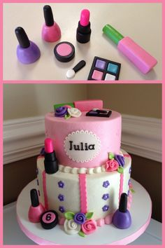 Sweet make-up themed cake. Make-up made from rice cereal treats and fondant.
