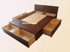 base cama minimalista recamara colchon cajones departamentos