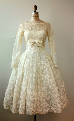 Early 1960s Ballet Length White Lace Semi Formal Dress
