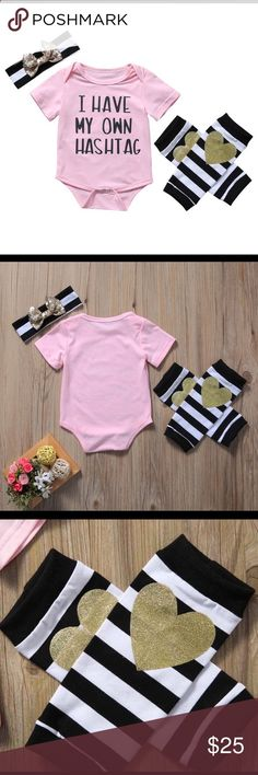 I have my own hashtag Baby Girl outfit set Absolutely love this!! You get the onesie, Headband w/ bow  leg warmers. Size is 12 months Matching Sets