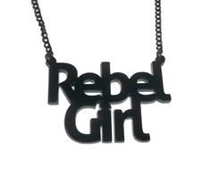 Rebel Girl Necklace, Bikini Kill, Kathleen Hanna, Feminism Riot Girl