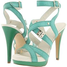 Turquoise and emerald green leather sandals with killer heels.  $99 at Zappos.com