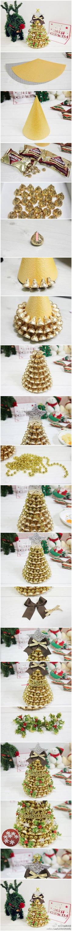 DIY Christmas Tree craft - Would be pretty with different colors too! Diy Christmas Tree, Christmas Projects, Winter Christmas, All Things Christmas, Christmas Holidays, Christmas Decorations, Tree Decorations, Xmas Trees, Christmas Snacks