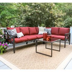 Amazon.com: Leisure Made 5 Piece Blakely Aluminum Sectional, Red Fabric: Patio, Lawn & Garden