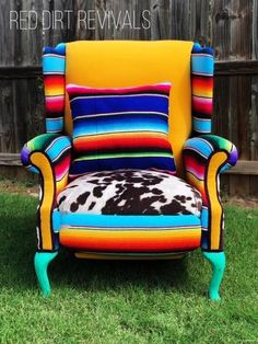 Cowhide Furniture, Reupholster Furniture, Western Furniture, Custom Made Furniture, Hand Painted Furniture, Upcycled Furniture, Western Rooms, Patchwork Chair, Southwestern Decorating