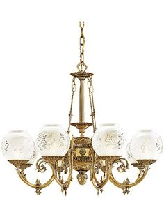 Victorian Lighting. English Victorian 8 Light Chandelier With Etched Glass Shades