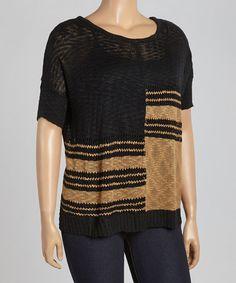 Loving this Black Stripe Sweater Tee on #zulily, $15 !! #zulilyfinds