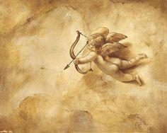 Аngel Cupid Cupid Drawing, Angel Drawing, Cupid Tattoo, Cherub Tattoo, Cupid Images, Angel Stories, Baroque Painting, Ceiling Murals, Romantic Paintings