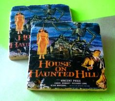 NEW House On Haunted Hill Tumbled Marble Coaster by SickAndTiled, $13.00