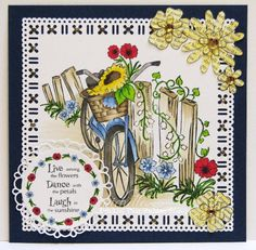 Prickley Pear Rubber Stamps: Flowers Clearly Beautiful Stamp Set, Flowers Die, Scalloped Circle Die, Country Bicycle