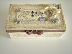Romantic wedding box, Shabby Chic paper box, Antique style box, big Storage box