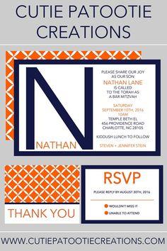 Bar Mitzvah Invitation - Orange Navy Blue - ANY COLOR COMBO Available - Bat…