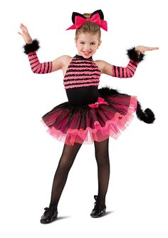 Ruffle hologram mesh and black spandex leotard with attached black glitter mesh over multi colored tricot tutu. Bow with jewel trim. Headband, mitts, and removable tail included Ballet Costumes, Cat Costumes, Dance Costumes, Dance Outfits, Dance Dresses, Girls In Love, Cute Girls, Girls Fancy Dresses, Cheshire Cat Costume