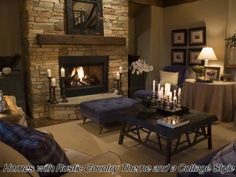 Rustic Country Cottage Decor | Homes with Rustic Country Theme and a Cottage Style *Fireplace*