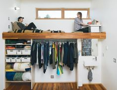How did they get up this one??  6 Seriously Stylish Loft Beds for Adults: A Lofted Bed Slash Workspace