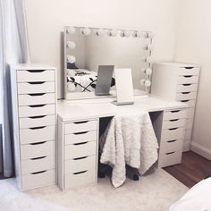 """More information about """"bedroom ideas"""" can be found on our website. It is an extraordinary . - Home - Beauty Room Room Ideas Bedroom, Bedroom Decor, Master Bedroom, Rangement Makeup, Vanity Room, Ikea Vanity, Vanity Decor, Makeup Room Decor, Makeup Rooms"""