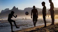 Kids play football on Ipanema Beach http://www.1502983.talkfusion.com/es/products/