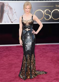 Nicole Kidman @ 2013 Oscars Awesome black and gold dress! #black #gold