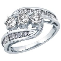 Smart Value® 1 1/2ct TW Three-Diamond Ring in 14K Gold available at #HelzbergDiamonds