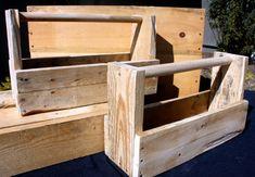 Rustic Pallet Wood Tool Box, Wedding Centerpiece, Storage Box, Crate, Wooden Tool Caddy, Wooden Mason Jar Holder on Etsy, $20.00