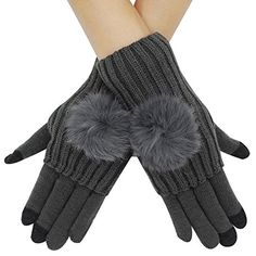 Lovful Womens 4 in 1 Knit Winter Warm Pom Touchscreen Gloves  Arm Warmer SetDark Gray One Size -- Check out the image by visiting the link. (This is an affiliate link)
