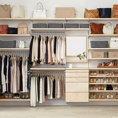 Master closet system container store 15 ideas for 2019 Elfa Closet System, Best Closet Systems, No Closet Solutions, Shelving Solutions, Reach In Closet, Walk In Closet Design, Closet Designs, Closet Space, Open Closets