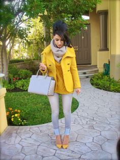 Add a splash of color for fall/winter. Mustard colored suede shoes, oversized knit sweater and pea coat. Matched with gray scarf, purse and skinny jeans. Jacket: Kenneth Cole Sweater: LOFT Scarf: H&M Shoes: ShoeMint Jeans: 1st Kiss Purse: Michael Kors Mesh Bangle: Tiffany & Co