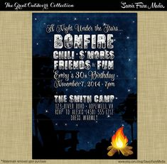 Bonfire S'mores Birthday Party Invitation // by SavoirFaireMedia