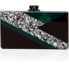 Edie Parker Black And Silver Confetti Jean Clutch With Bolt Decal (4,190 PEN) ❤ liked on Polyvore featuring bags, handbags, clutches, edie parker handbags, black and silver purse, edie parker clutches, edie parker and black and silver handbags