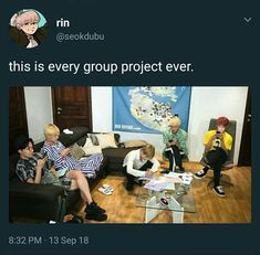 BTS as every group project Bts Memes Hilarious, Funny Relatable Memes, Funny Humor, Kookie Bts, Bts Bangtan Boy, Lady Gaga Bad Romance, Memes Chinos, V And Jin, La Ilaha Illallah