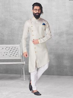 Shop Cream color silk kurta suit online from G3fashion India. Brand - G3, Product code - G3-MKS0543, Price - 3999, Color - Cream, Fabric - Silk,