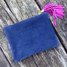 Calf Suede Clutch Bag navy with pink tassel