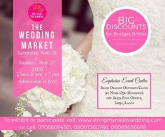 @stringmynaijawedding It's all about#WeddingVendors. We bring you The Wedding Market a platform to showcase your product and services to couples from all over Nigeria. Date 26 - 27th November 2016. Secure a exhibition boot/table for as low as 30000 Naira. Get 10% discount when you register early: Coupon code GidiWeddings10%. Powered by @stringmynaijawedding. Supported by @Gidiwedingsng.  #wedding #weddingvendor #nigeriaweddings #gidiweddings #bellanaija #bellanaijaweddings #vendors #ring…