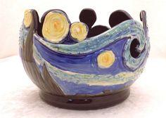 Starry Night Yarn Bowl by KilikaDesigns on Etsy, $120.00