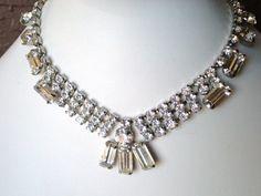 Vintage Rhinestone Necklace Clear by snowflowerpie on Etsy, $29.00