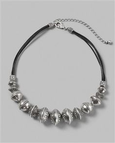 Chico's Bali-style beads in silver-toned metal necklace
