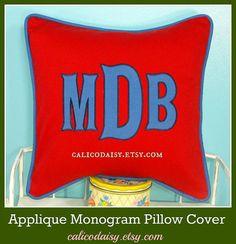 Large Font Applique Monogrammed Pillow Cover - 16 x 16 square via Etsy