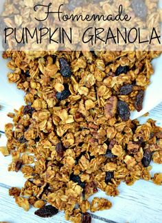 """This easy Pumpkin Granola Recipe is the perfect to add a little """"Fall"""" to your yogurt parfait or to have as a healthy snack."""
