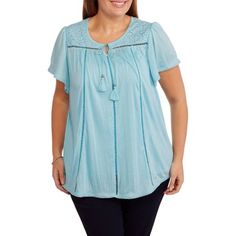 Plus Size French Laundry Women's Plus Short Sleeve Woven Shirt with Crochet Yoke, Size: 1XL, Blue