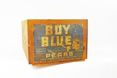 Wooden Fruit Crate Washington Fruit Box Boy Blue by Vintassentials
