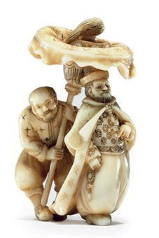 An Ivory Netsuke Signed Sosui, Meiji Period (late 19th century) Of a Portuguese man with a servant sheltering him under a parasol, So School 3.5cm. high