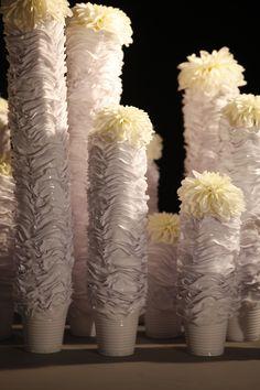 #art #plastic   bekers omgesmolten tot vaasjes gemaakt door Floral Art by Jennie Slagter