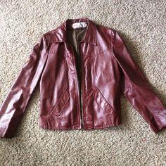 Vtg JEAN PIERRE Argentina Western 70s Leather Biker JACKET Mens 40 Burgundy    eBay