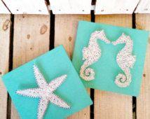 String Art, String e Nail art, arte della parete, oceano, spiaggia, stella, stelle marine, cavallucci marini, segni di legno, decorazione della…