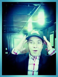 Jimmy Fallon, rocking a Rabbitohs cap. (via twitter: @A)