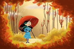 Fall Rain by SatrunTwinsArtShop on Etsy